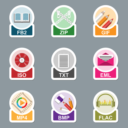 extensions: Set of file type icons. Pictograms of media extensions