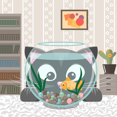 gold fish bowl: Black cat is looking at the fish in an aquarium. Cartoon kitten and small goldfish in a fishbowl