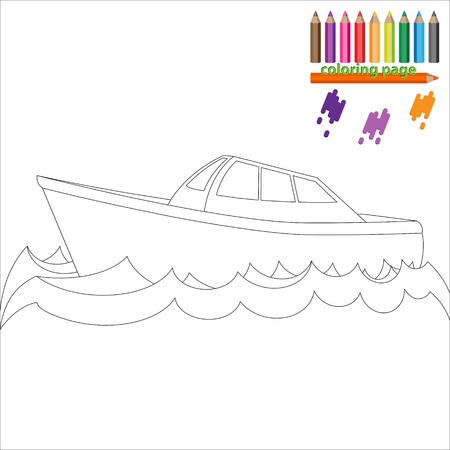 marine industry: Coloring page with sea ship, boat. Painting for kids