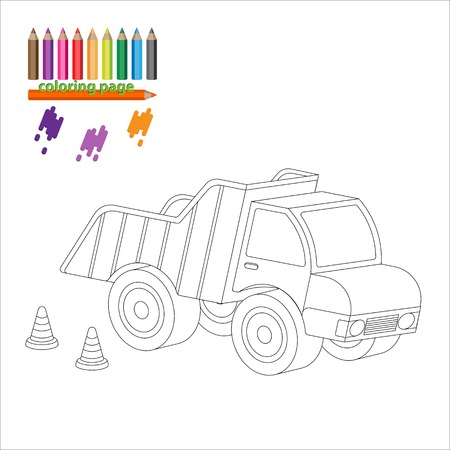 colorize: Coloring page with big truck, lorry, dumper. Painting for kids