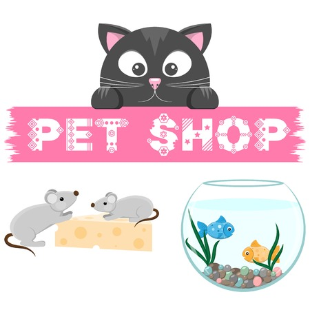 cat and mouse: Pet shop emblem. Banner with name of animal store. Cat, mouse and fish on the picture