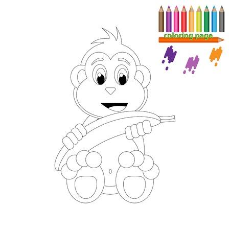 Dibujo Para Colorear. Mono Feliz Con El Plátano. Estilo De Dibujos ...