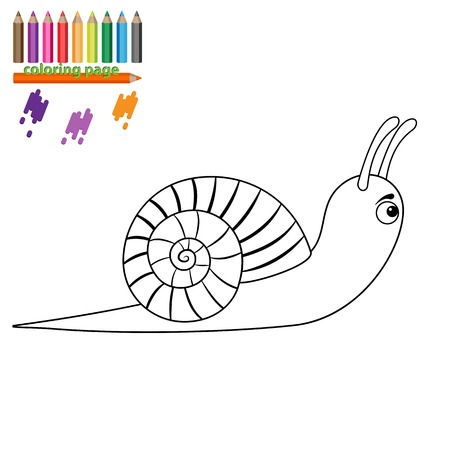 creep: Coloring page for kids. Snail. Cartoon style