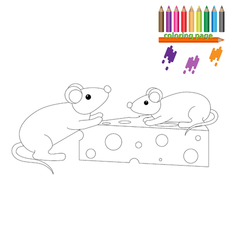 two page: Coloring page. Two mouses with a piece of cheese. Cartoon style Illustration