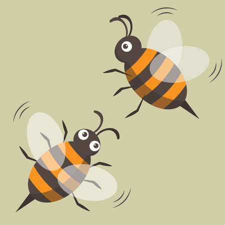 Two flying bees isolated color picture. Cartoon style