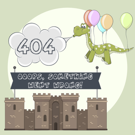 stronghold: Error page 404 for web. Castle and dragon. Dinosaur flying with balloon. Stronghold with towers shows banner after failure attack of monster Illustration
