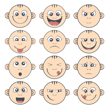 litle: Colored set of baby smiley with two teeth. Cute cartoon litle kids emoticon. Collection of funny children face expression