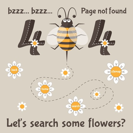error message: Page not found. 404 error message for web. Cartoon bee with flowers. Vector illustration