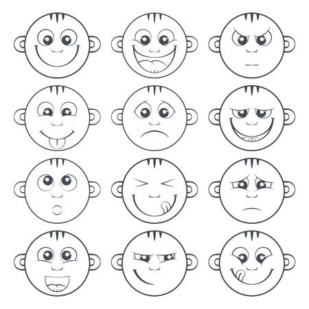 anger kid: Outlined set of baby smiley with two teeth. Collection of cute cartoon litle kids emoticon. Funny children face expression