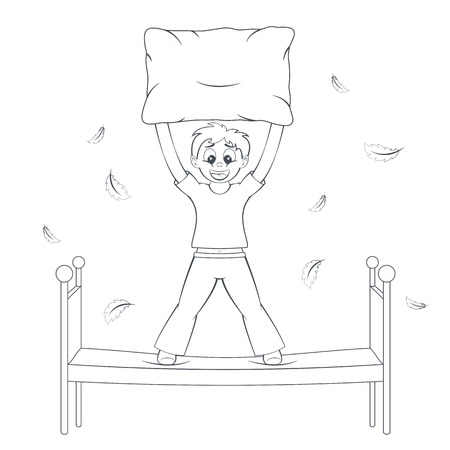 bedtime: Bedtime in action. Boy starts pillow fight. Feathers fly around bed. Child with cushion in arms. Cartoon style vector illustration