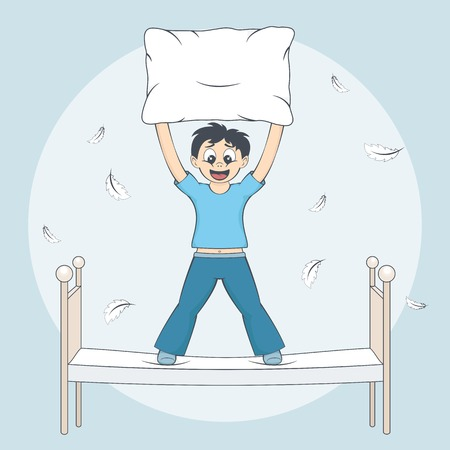 pyjamas: Boy in pyjamas starts pillow fight. Feathers fly around bed. Child with cushion in arms. Cartoon style vector illustration Illustration