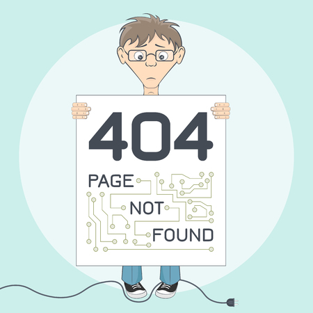 error message: Picture with 404 error. Message for website. Programmer keep text alert in hands. Page not found warning. Cartoon vector illustration Illustration