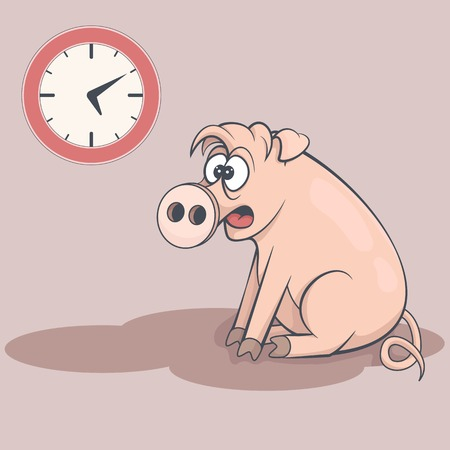 slumberous: Sleepy cartoon pig in early morning. Tired swine dream about bed. Clock on the wall. Drowsy funny farm animal sitting on the floor