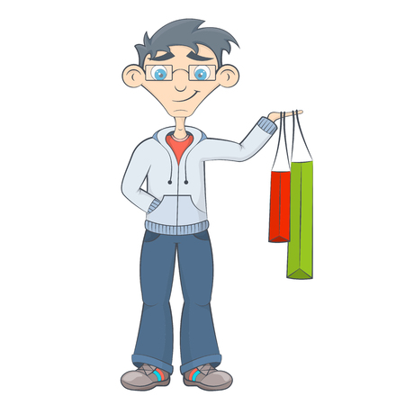 purchases: Man with shopping bags. Teenager keeps purchases in his hand. Happy boy after sale in the market. Cartoon style Illustration