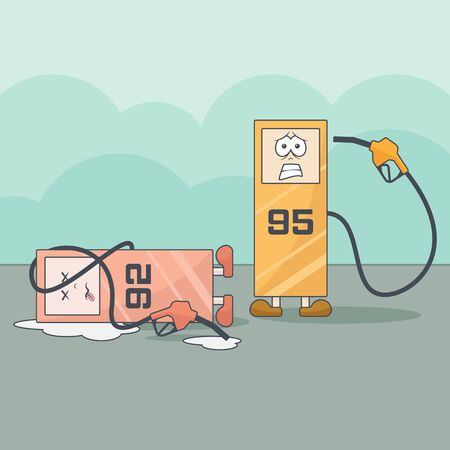 Funny cartoon gas stations with financial problems