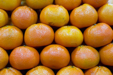 cold remedy: rows of mandarin  Stock Photo