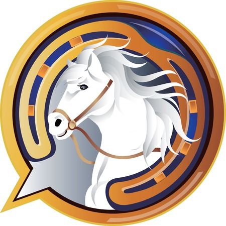 fer   � cheval: Jockey Horse ic�ne Illustration