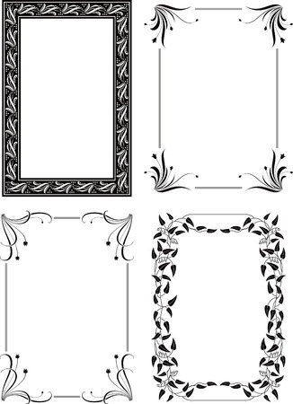 rectangle frame: Floral Border Frame Set 4
