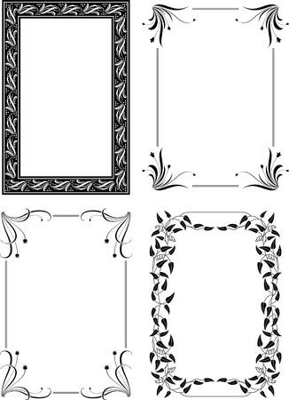 cadre noir et blanc: Floral Frame de bordure ensemble 4