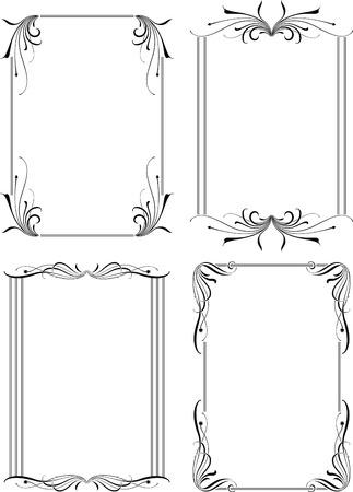 cadre noir et blanc: Floral Frame de bordure ensemble 3  Illustration