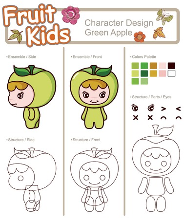 Fruit and Vegetable Baby ------ Green Apple Illustration