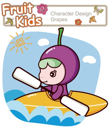 Active Child Canoe Illustration