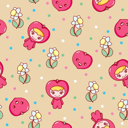 Fruit and Kid Pattern 3 Vector