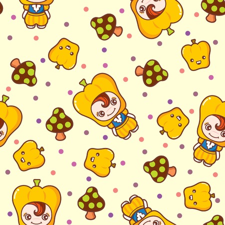 Fruit and Kid Pattern 6 Illustration