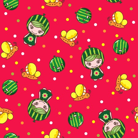 Fruit and Kid Pattern 10 Illustration