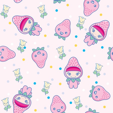 Fruit and Kid Pattern 14 Vector