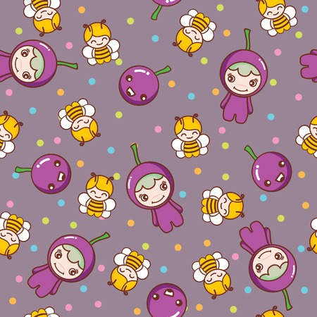 Fruit and Kid Pattern 15 Vector