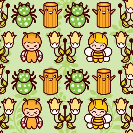 Bee Spider Floral Wood Illustration
