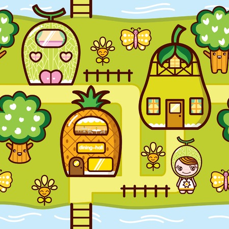 Fruit Kid Dreamland Villas Village Vector