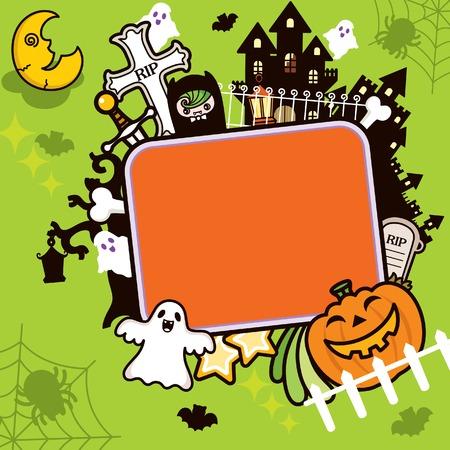 calabazas de halloween: Fondo de marco de Halloween