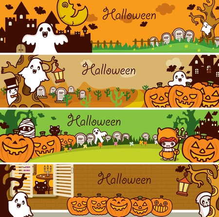 Halloween Holiday Banner Set Vector