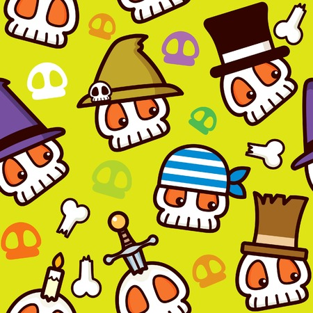 Halloween Pirate Skull Pattern Vector