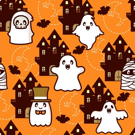Halloween Castle Ghost Pattern Illustration