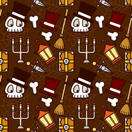 Halloween Holiday Skull Element Pattern Vector