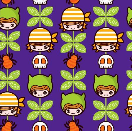 Halloween Pirate Pattern Vector