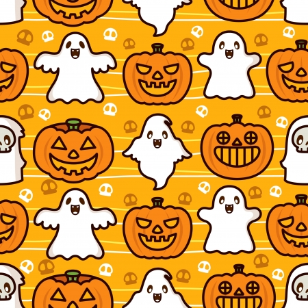 Halloween Ghost and Pumpkin Pattern Vector