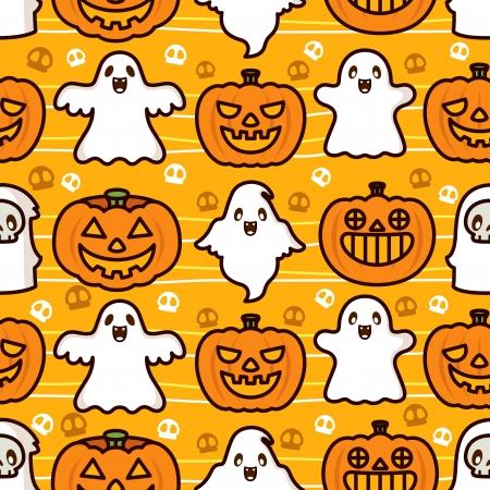 Halloween Ghost and Pumpkin Pattern Vector