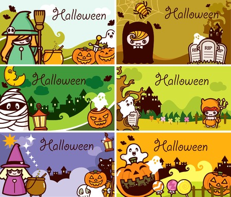 Halloween Holiday Gift Card Set Vector