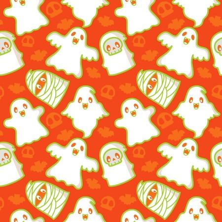 할로윈 유령과 악마 패턴