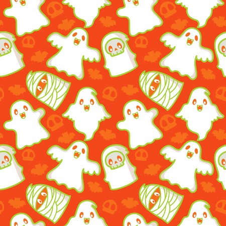 Halloween Ghost and Demon Pattern Vector