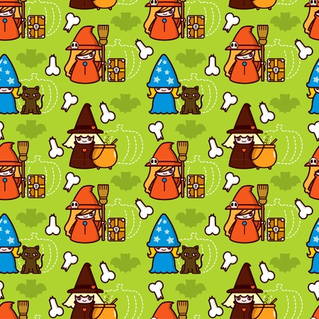 Halloween Witch and Cat Pattern Illustration