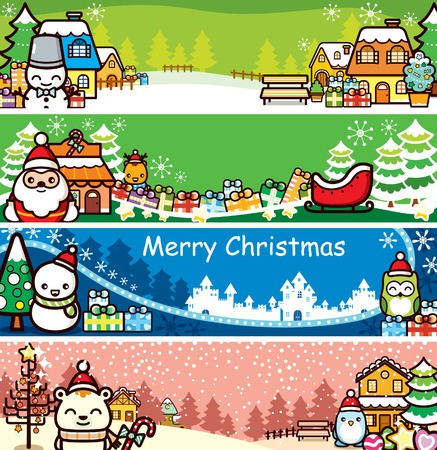 Cartoon Christmas Banner Set Vector