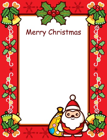 Abstract Christmas Frame With Santa and Holly Vector