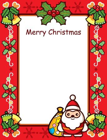 Abstractos marco de Navidad, con Santa y Holly  Foto de archivo - 8084926