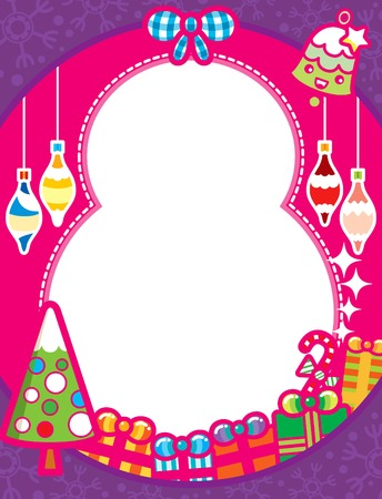 Christmas Frame Background with Gift Box Illustration