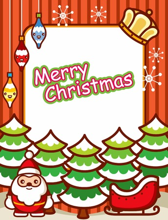 Christmas Card with Santa Vector